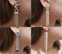 Indian Earrings Jewellery Long Gold Silver Plated Colour Jhumka Jhumki Diamante