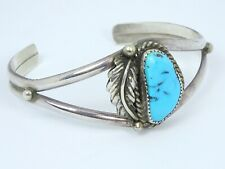 Vintage Sleeping Beauty Turquoise Sterling Silver Cuff Bracelet Signed LORI