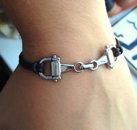 Snaffle Bit Horse Bracelet Brown Cord Equine Jewellery Xmas Gift Pony Riding