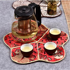 Chinese Style Cup Mat Tea Cherry Blossom Teapot Dining Table Mat YO
