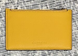 NWT Coach C4280 Men's Zip Card Coin Case Wallet Pebbled Leather Ochre
