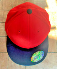 Flexfit Premium 210 Fitted FLAT Cap RED AND BLACK NEW 7 1/4 - 7 5/8 SIZE