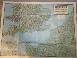 Daily Mail - Air View War Map - Southern England Northern France Channel Ports