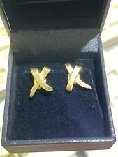 TIFFANY & Co. 18K YELLOW GOLD X KISS STUD EARRINGS PALOMA PICASSO