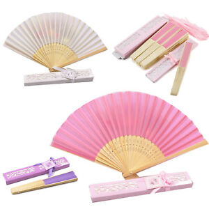 Wedding Beach Theme Chinese Silk Fan Guest Gift Souvenir Table Favour Paper Box