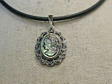 """Sterling  Marcasite Cameo Necklace on Round 3mm Rubber Cord, 18"""", faux Abalone"""