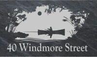 Personalised fishing scene door plaque, sign, welsh slate, engraved,