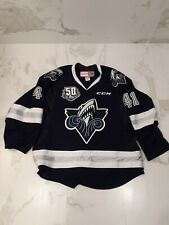 QHL RIMOUSKI OCEANIC GAME WORN USED NAVY JERSEY #41 SALDA 50TH PATCH