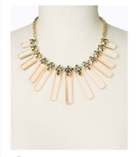 ANN TAYLOR Metallic Lucite Bar Statement necklace rhinestones Gold/grey NWT $98