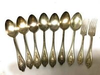 """OLD COLONY 1847 Rogers Bros Silverplate 7 Tablespoons Spoon 8.5"""" 2 Dinner Forks"""