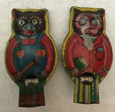 2 Vintage Tin City Cat/Farm Cat WHISTLE Toy MADE in JAPAN Litho/Lithograph