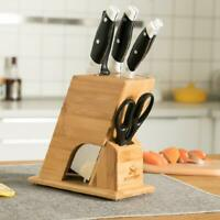 6 Slot Knife Block Holder Bamboo Cutlery Storage Rack Kitchen Counter Organizer
