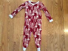Burt'S Bees Kids 2T Long Sleeve Two-Piece Pajama Set Red & Ivory Tree Pattern
