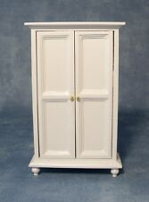 Dolls House Furniture:  White 2 Door Wardrobe :  in 12th scale