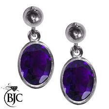 9 Carat Amethyst Drop/Dangle White Gold Fine Earrings