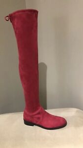 $798+ Tax Stuart Weitzman Cranberry Suede Jocey Over the Knee Tall Boots Size 7