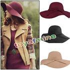 New Vintage Women Lady Wool Felt Floppy Wide Brim Fedora Bowler Cloche Hat Cap