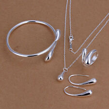 New 925 sterling silver drop jewelry sets necklace bracelet bangle earring ring