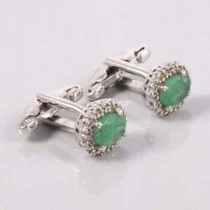 Silver Emerald Cufflinks 6x8 mm oval Natural Emerald Cufflinks Men Fathers Day