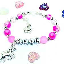Personalised Princess Pink Stars Unicorn Crystal pearl Bracelet Christmas gift