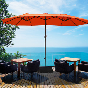 15 Ft Extra Large Patio Double Sided Umbrella with Crank and Base