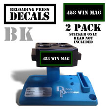 "458 WIN MAG Reloading Press Decals Ammo Labels 1.95""x .87"" Sticker 2Pack BLK/GRN"