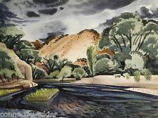 California Artist,James Milford Zornes,Large Watercolor,New Mexico,Rio Grande