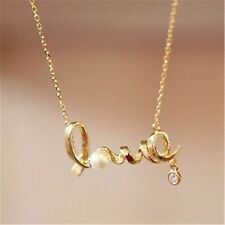 Gold tone word love chain necklace with pearl crystal