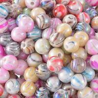 300 Mix Acryl Rund Streifen Spacer Perlen Beads Kugeln Basteln 8mm hello-jewelry