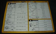 Inspektionsblatt Toyota Corolla Diesel EE 80 / AE 82 Werkstatt Service 10/1986!