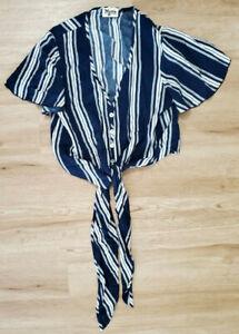 Show Me Your Mumu Womens Shirt Size XS Tortuga Tie Front Blue White