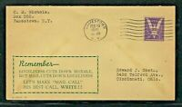 WWII - PATRIOTIC COVER - DAVIS CACHET - JAMESTOWN NY - OPENED AT THE TOP