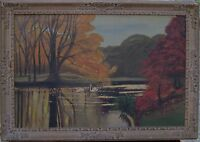OIL ON CANVAS LANDSCAPE WITH SWANS ON LAKE