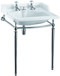 Burlington Classic 65cm Basin with Invisible Overflow & Chrome Washstand B14