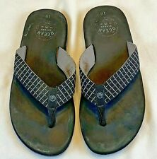 Mens Ocean Minded  Sandals Flip Flops Size 10 Black Surfers for the Ocean