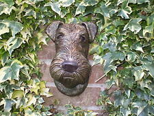 LARGE BRONZED STONE  AIREDALE TERRIER DOGS HEAD WALL SCULPTURE