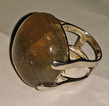 Gorgeous sterling (925) silver Ring with Large Beige Color Fluorite Gemstone