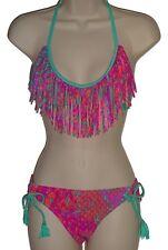 ddac5d2206 Raisins bikini set swimsuit size M pink fringe halter 2 piece swimwear new