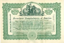 ASSOCIATED MANUFACTURERS OF AMERICA, NEW JERSEY 1911 STOCK CERTIFICATE
