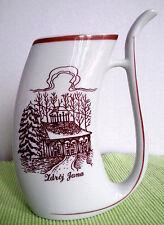 "Cmielow Polish Pitcher Curved Porcelain Krynicy Ldroj Jana 6.25"" High Vintage"
