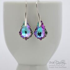 925 STERLING SILVER HOOK EARRINGS MADE WITH SWAROVSKI CRYSTALS 16MM BAROQUE