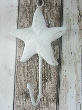 BRAND NEW SHABBY CHIC WHITE BEACH WOODEN STARFISH WITH IRON WALL HOOK 18cm HIGH