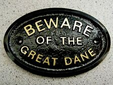 BEWARE OF THE GREAT DANE - HOUSE DOOR PLAQUE SIGN DOG (Gold or Silver Lettering)