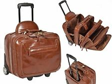 REAL Chestnut Leather Pilot Case Trolley Bag Laptop Business Travel Weekend Bag