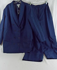 Women's Double Breasted Lined Suit & Pants Navy Blue in 24 Tall