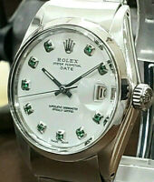 Mens Vintage ROLEX Oyster Perpetual Date 34mm White Dial Diamond Stainless Watch