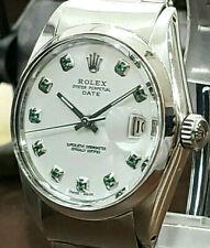 Мужские Винтажные Rolex Oyster вечный дата 34 мм белый циферблат часы с бриллиантами из нержавеющей стали