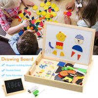 Wooden Puzzle Educational Magnetic Learning Box With Whiteboard and Chalkboard