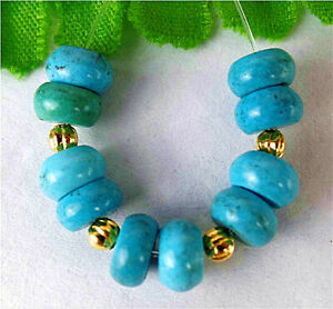 7x4mm 10Pcs Blue Turquoise Height Hole Abacus Bead AP9511