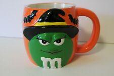 M&M M&M's Coffee Mug Orange/Green Witch Ceramic Halloween Bat Galerie